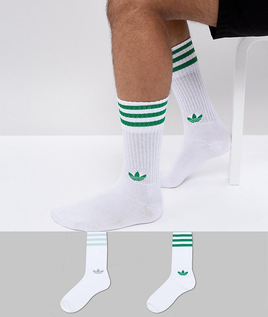 427abcb15c3872 Lyst - adidas Originals Adicolor 2 Pack Crew Socks In Green Ce5713 ...