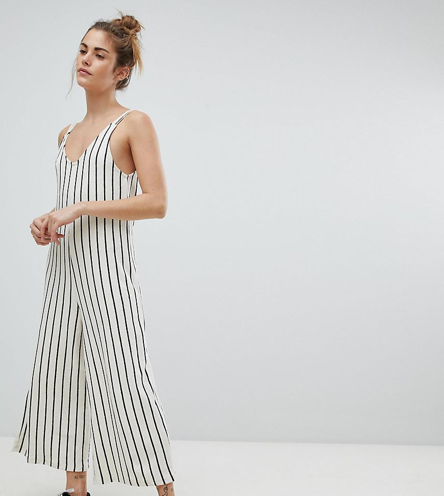 79ad3ee124 Lyst - Pull Bear Stripe Cami Jumpsuit in White