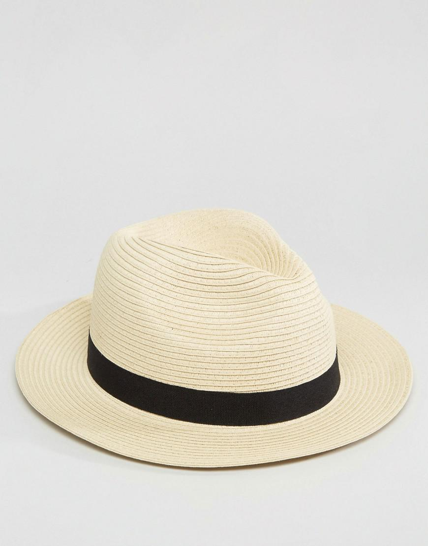 948d2d34526f5 ASOS Straw Fedora Hat In Beige in Natural for Men - Lyst