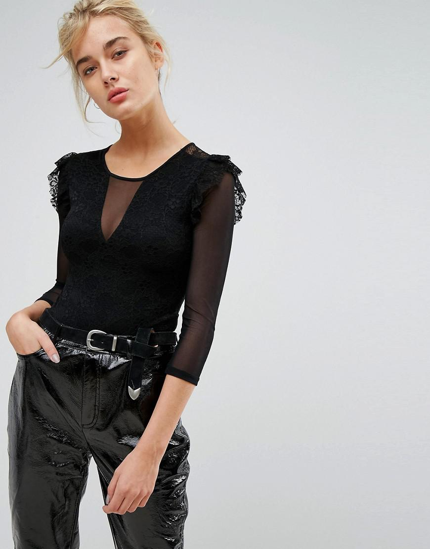 78bf6eec80bc0 Stradivarius Long Sleeve Mesh And Lace Body in Black - Lyst