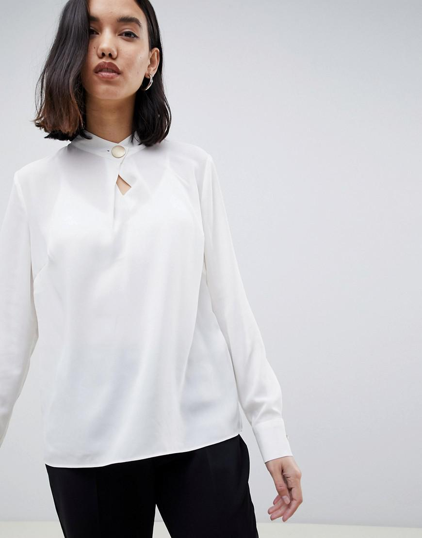38303014eeef03 Warehouse Blouse With Keyhole Button Detail In Ivory in White - Lyst