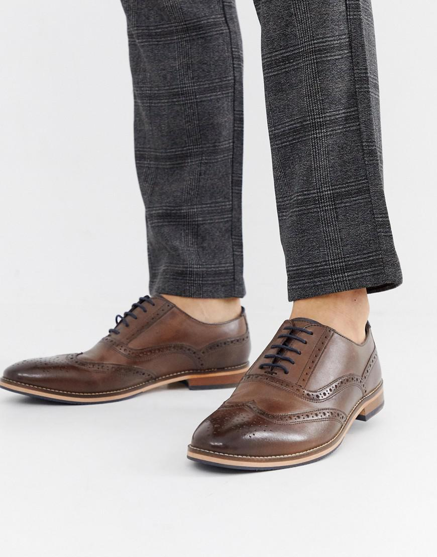 Lyst - Asos Brogue Shoes In Brown Leather With Natural Sole And Color  Details in Brown for Men 58b6125cfcb