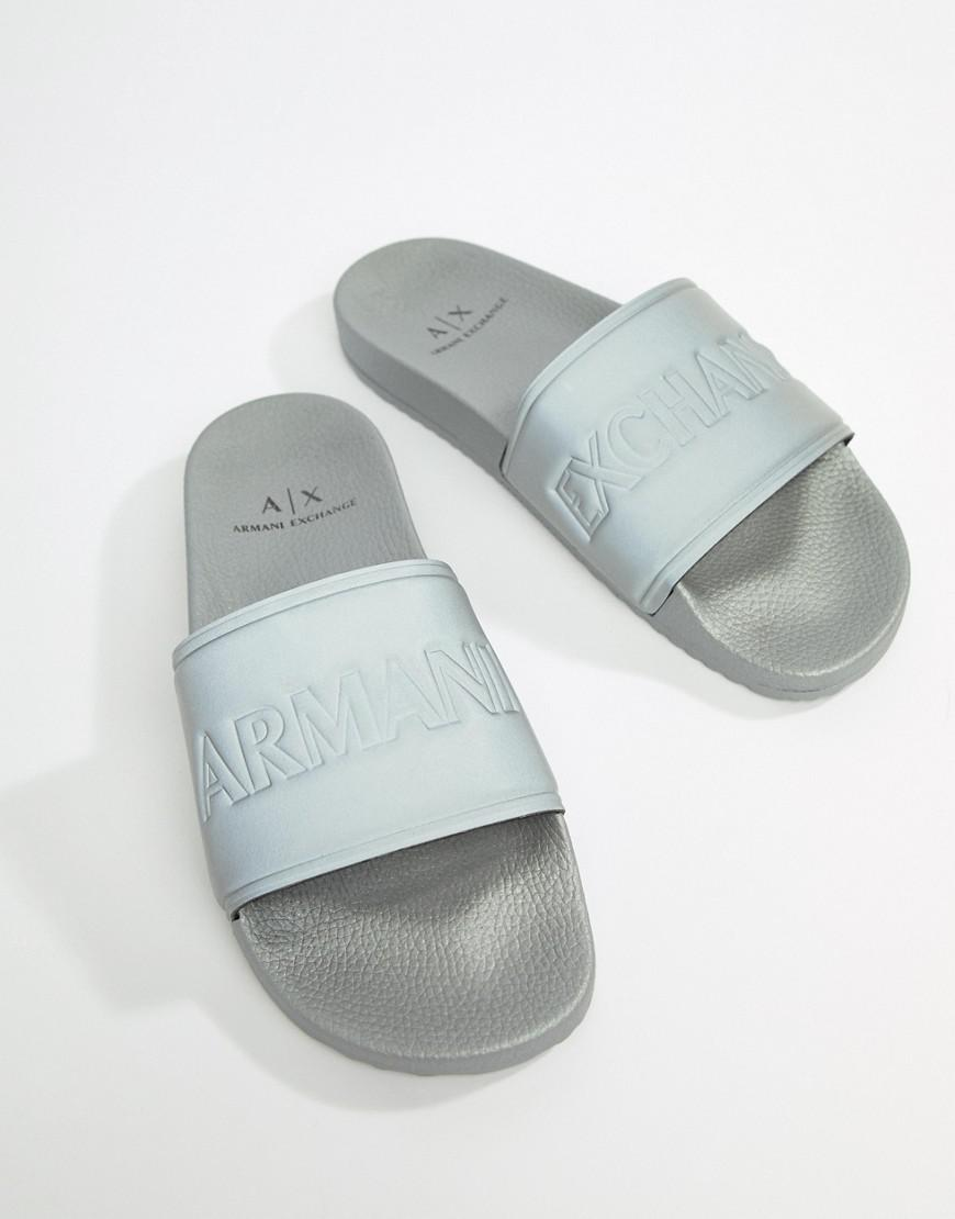 Armani Exchange Logo Sliders In Silver outlet where can you find cheap sale 100% guaranteed 3jqUXjI