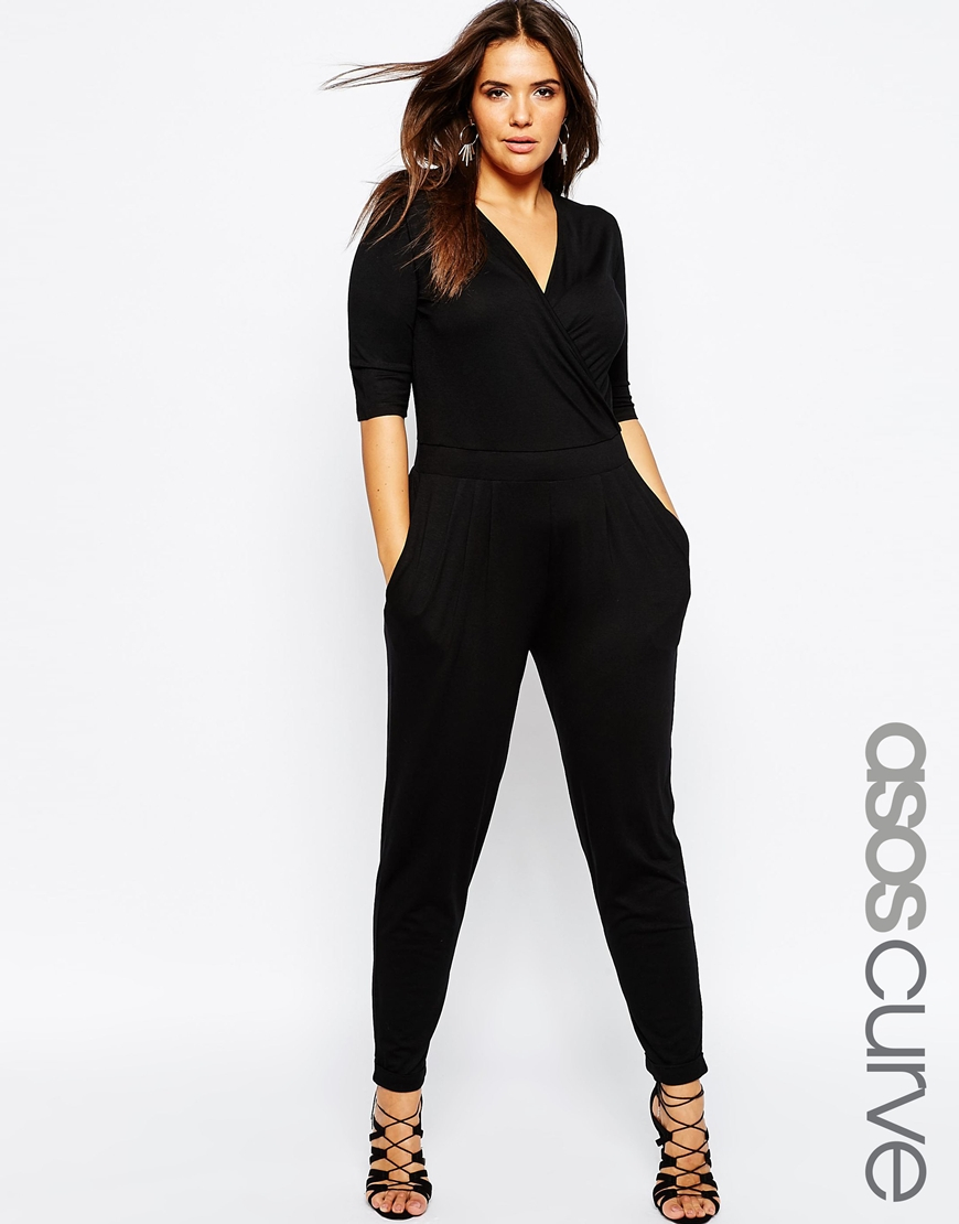 asos wrap jumpsuit with 3 4 sleeve in black lyst. Black Bedroom Furniture Sets. Home Design Ideas