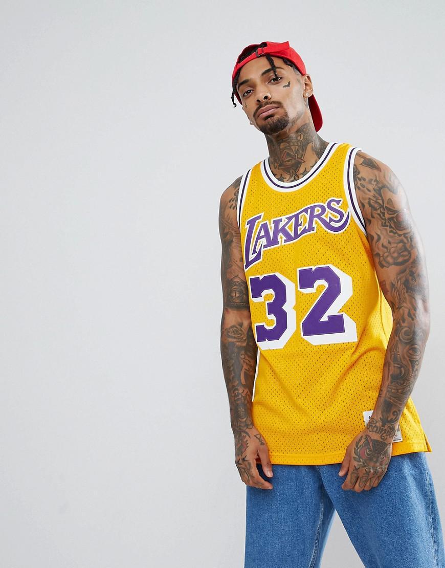 3e2e483614f Mitchell & Ness Nba Lakers Magic Johnson Swingman Tank In Yellow in ...