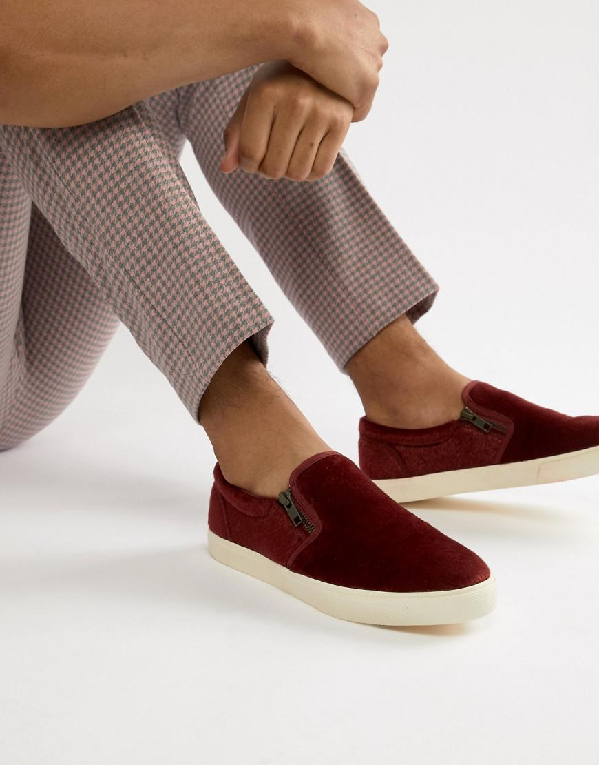 05972a402f4 Lyst - ASOS Slip On Plimsolls In Burgundy Faux Pony Hair With Zips ...