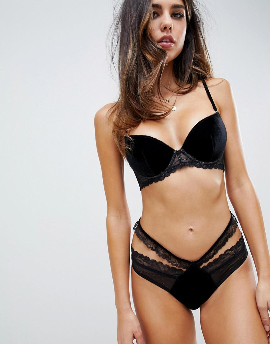 3753a1a01f Lyst - ASOS Emma Velvet   Lace Padded Plunge Underwire Bra in Black