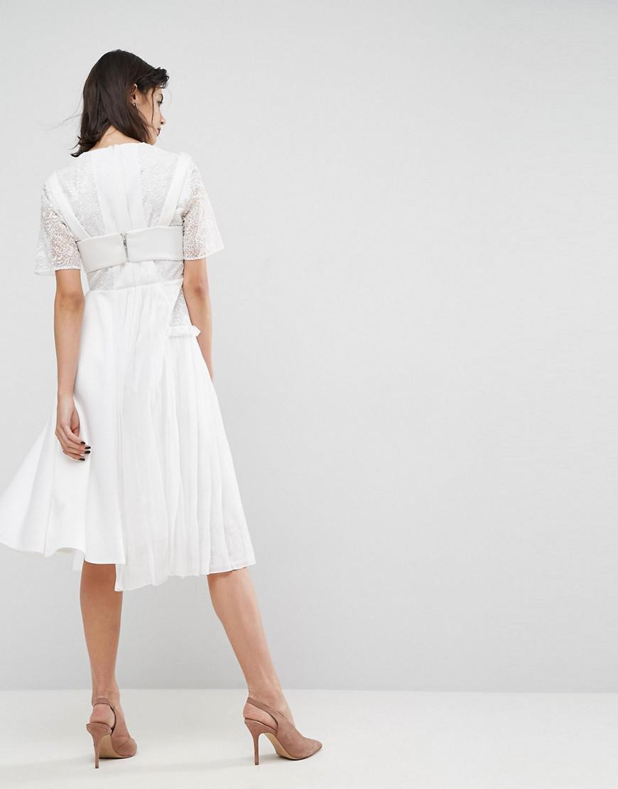 5483b1cda5a ASOS Asos Premium Satin Pleat Detail Dress With Detachable Bralet in White  - Lyst