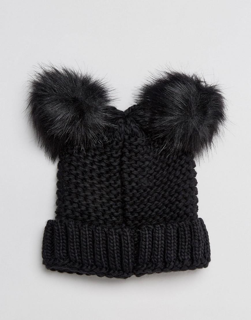 Lyst - New Look Double Faux Fur Pom Hat in Black 4b5069c057f