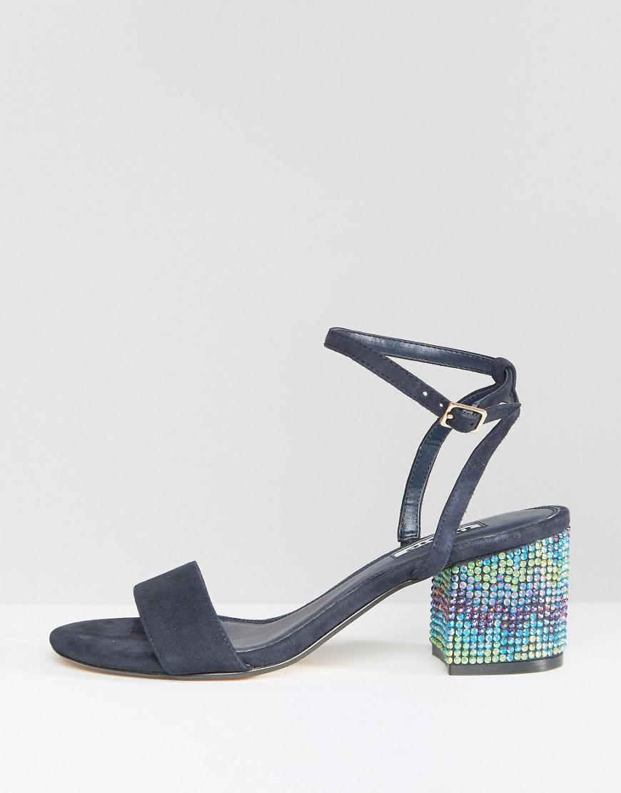cab0b2c6e84a Lyst - Dune Marble Suede Gem Block Heeled Sandals in Blue