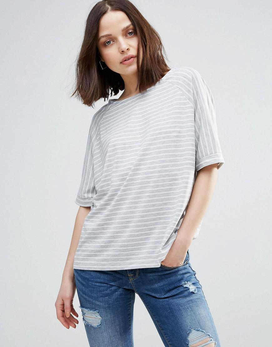 Soaked In Luxury Striped Roll Sleeve T-Shirt - Navy Soaked In Luxury Cheap Pre Order 67iiEmX