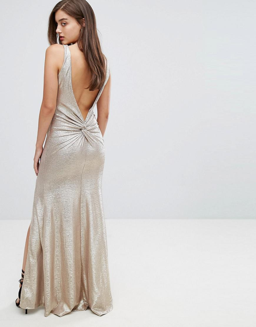 c7277df7ae Lyst - TFNC London Highneck Metallic Maxi Dress With Back Knot in ...