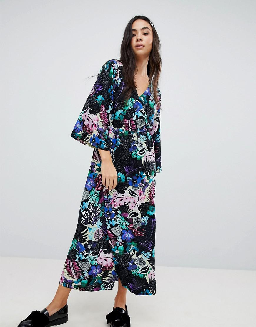 67b48836a6 Lyst - Monki Tropical Floral Print Wrap Midi Dress in Blue