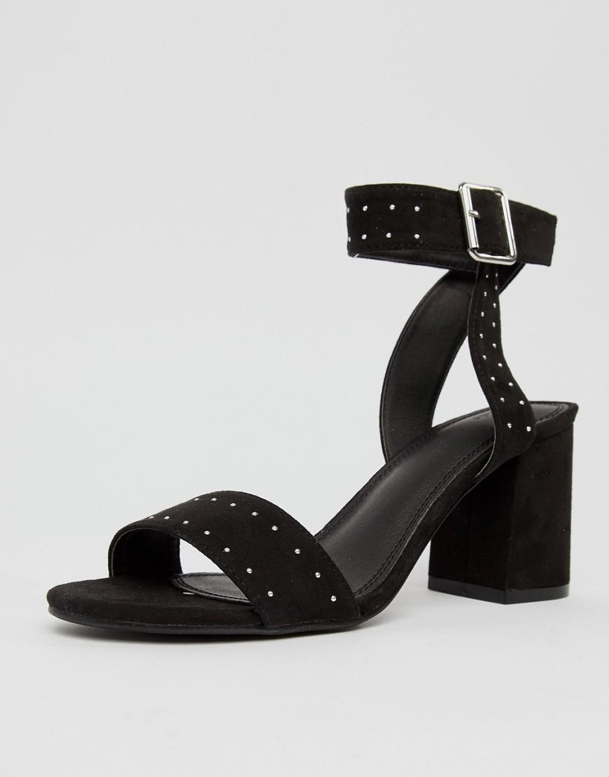 a11e6d3cbb05 Pimkie Studded Block Heeled Sandals in Black - Lyst