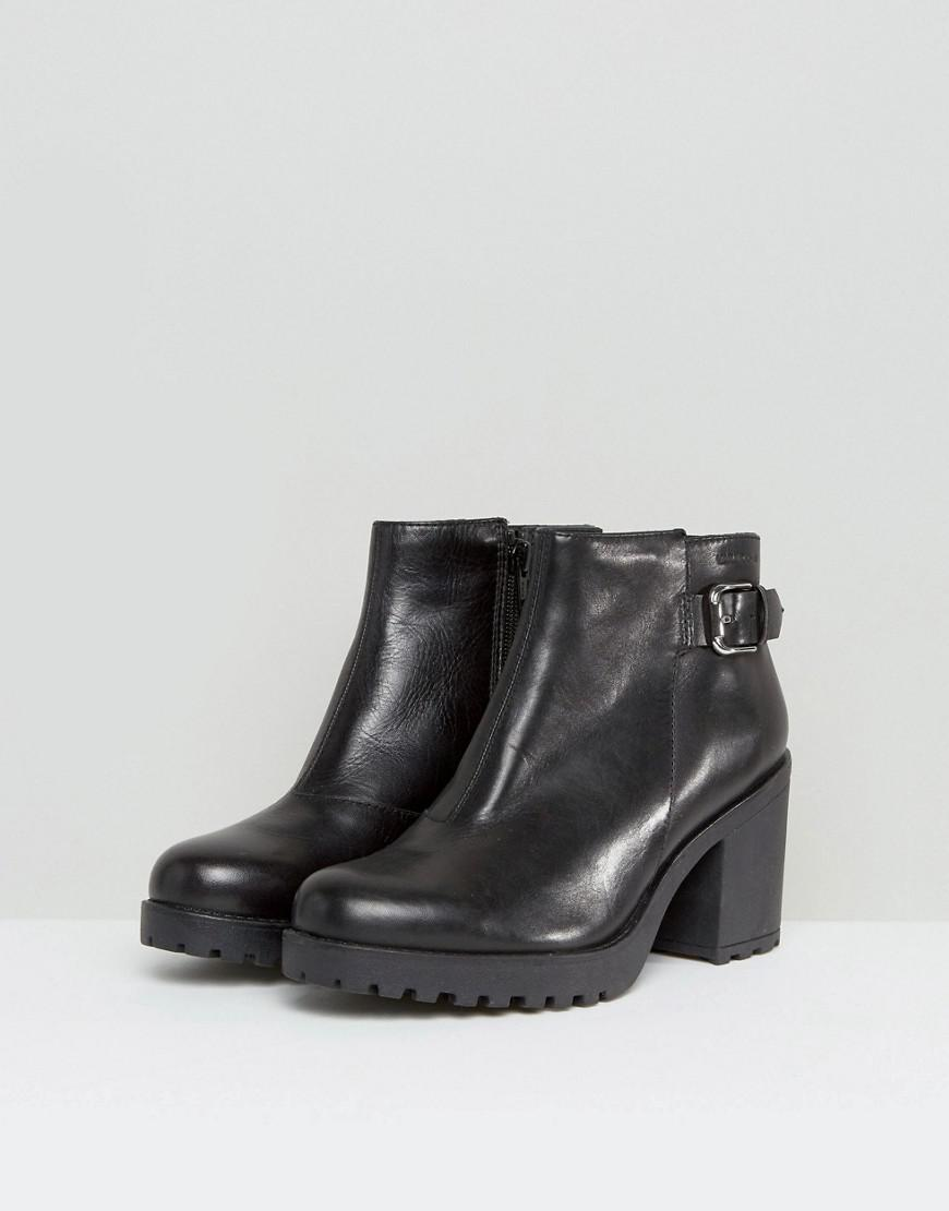 b541bcd2ac9d Lyst - Vagabond Grace Buckle Detail Black Chunky Leather Ankle Boots in  Black