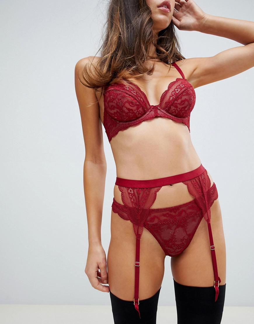 9ba61ecb80 Asos Roxy Lace Suspender Belt in Red - Lyst