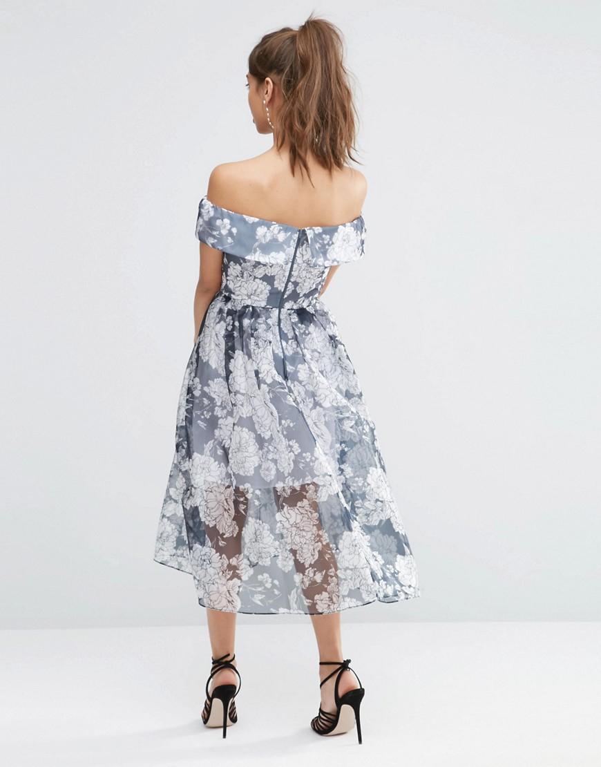 048c998ddb8 Lyst - ASOS Petite Navy Floral Bardot Organza Midi Dress