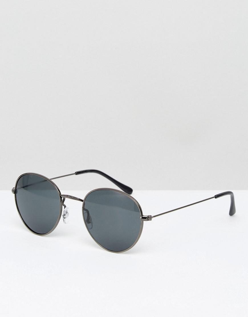 52c440f8399 Lyst - ASOS Metal Round Sunglasses In Gunmetal in Gray for Men