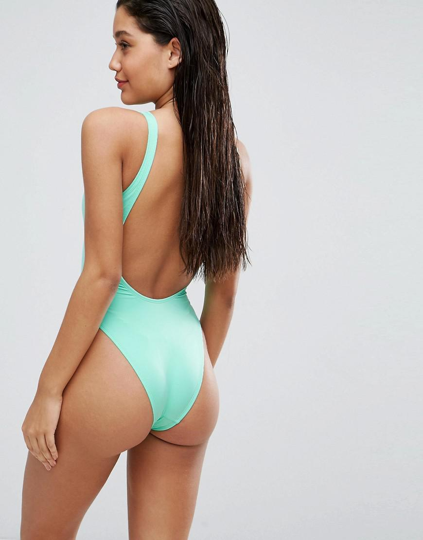 985f68d6cfc9 ASOS Scoop Front High Leg Swimsuit Multipack in Blue - Lyst