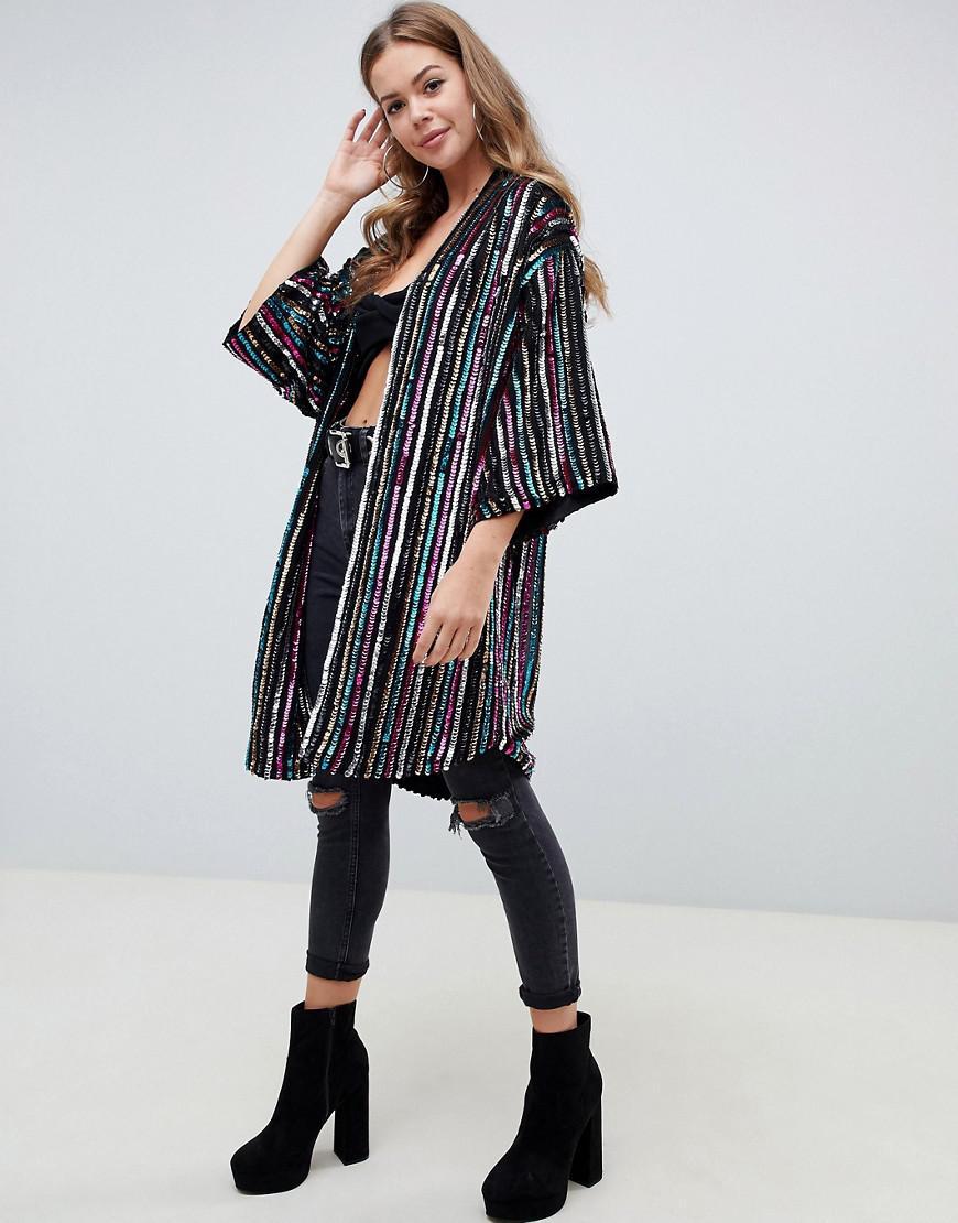 f6678d50a6d1 Lyst - ASOS Stripe Sequin Kimono in Black