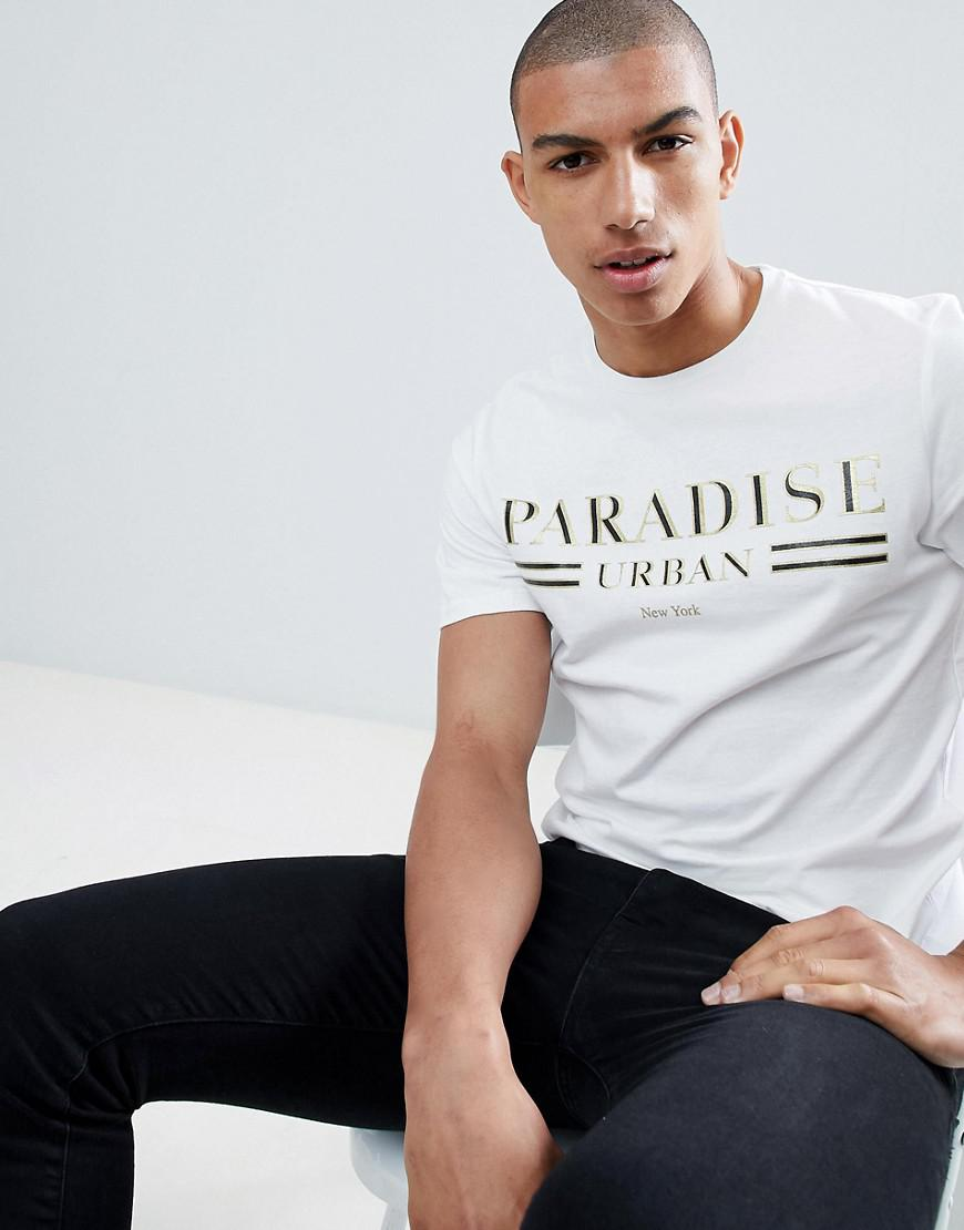 c4958201 Lyst - River Island Muscle Fit T-shirt With Paradise Print In White ...