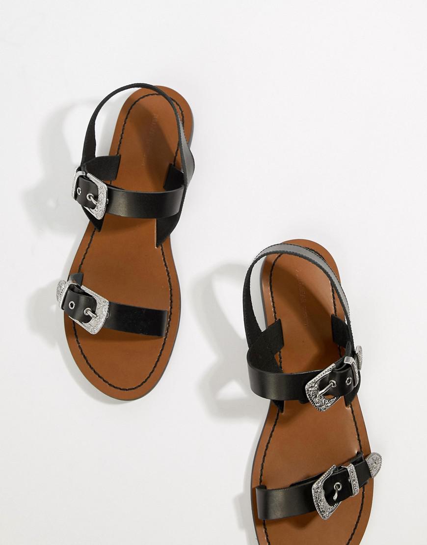 a95d93ee4111 Lyst - Sandales boucle style western Pull Bear en coloris Noir