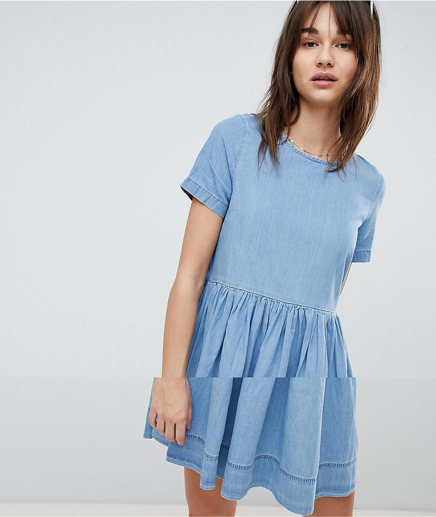 Lyst - Vero Moda Chambray Skater Dress in Blue