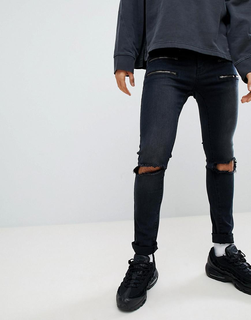 Black Skinny Jeans With Double Zips - Black Liquor & Poker 801BK