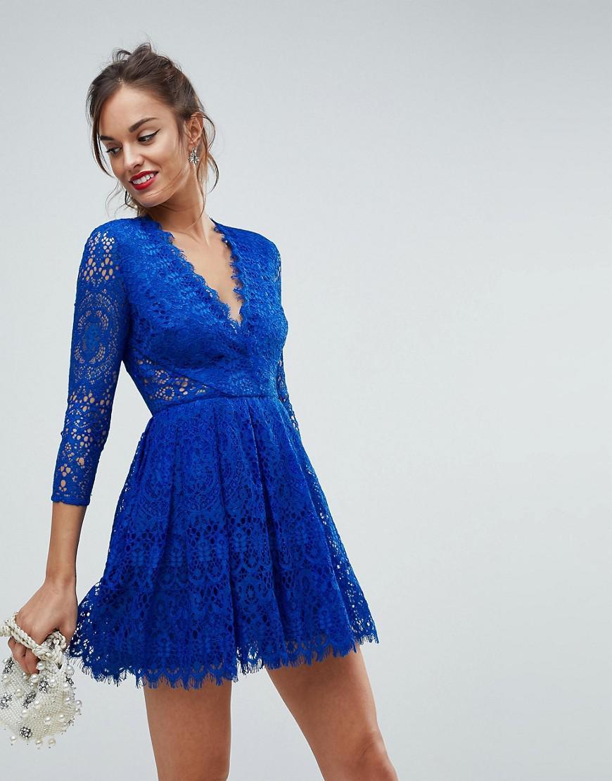 Lyst - ASOS Asos Long Sleeve Lace Mini Prom Dress in Blue e5604168d