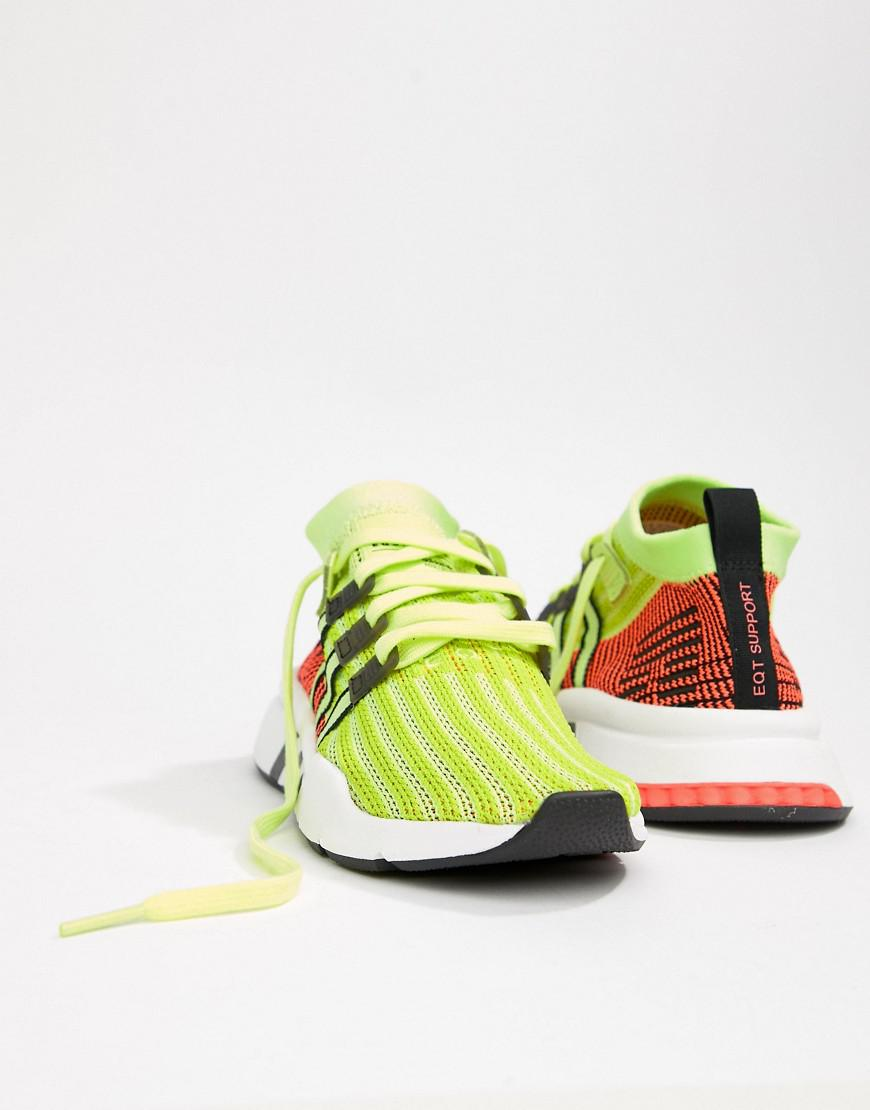 the latest 1469a 039f5 adidas Originals Eqt Support Mid Adv Sneakers In Lime And Black in ...