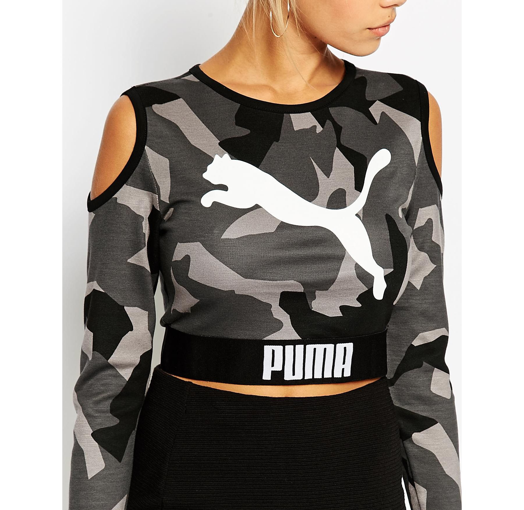 puma cropped sweat with cold shoulder detail in black lyst. Black Bedroom Furniture Sets. Home Design Ideas