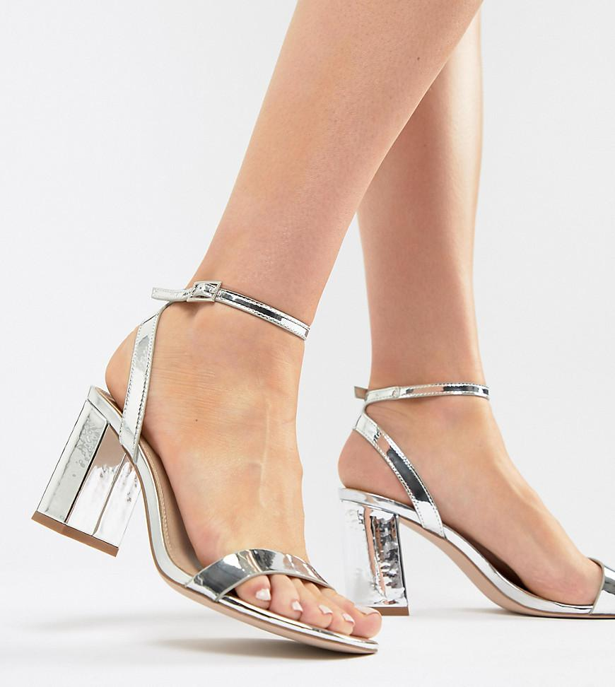 f49a8a42bb3c Lyst - ASOS Hong Kong Barely There Block Heeled Sandals in Metallic