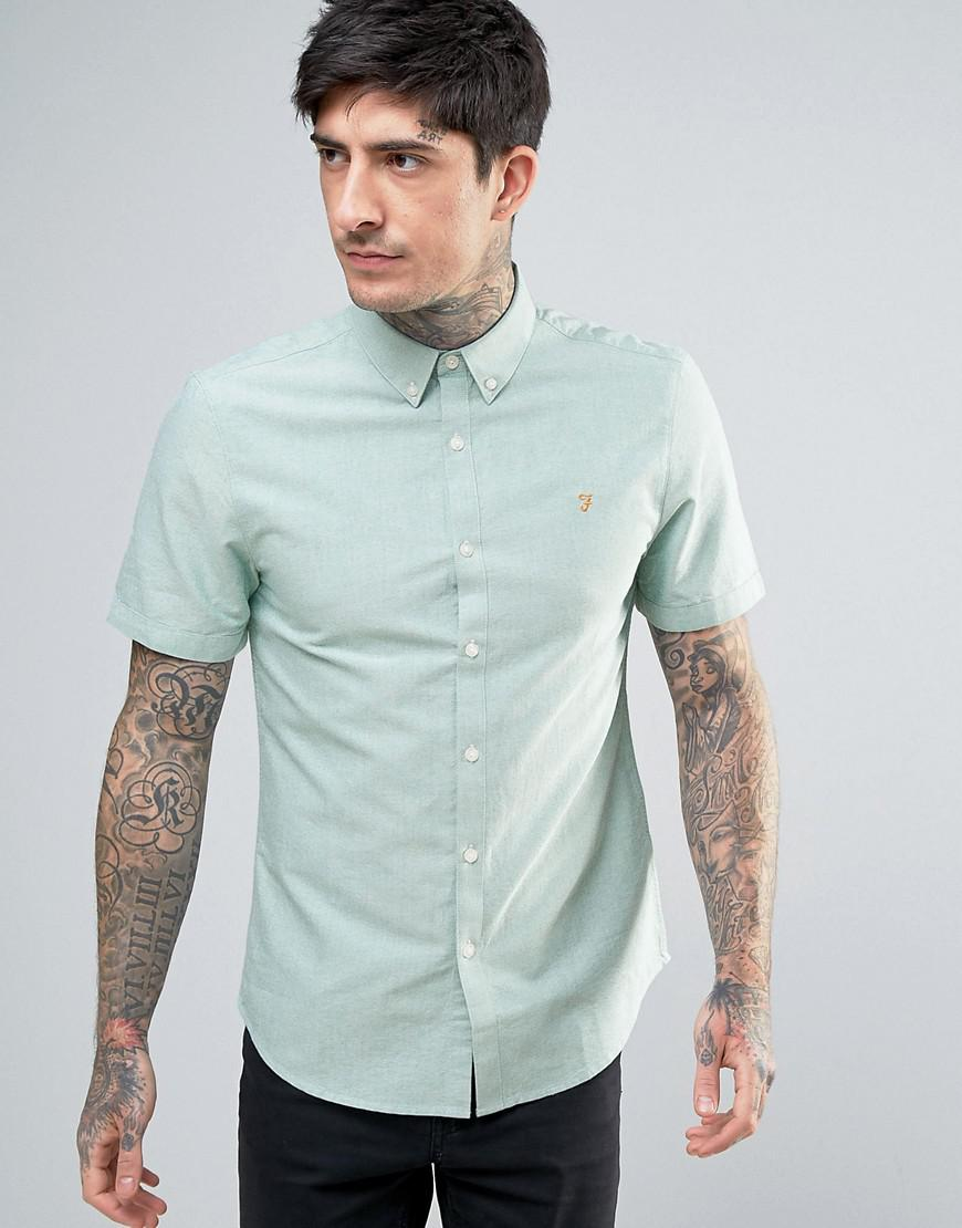 c037f77b6eb Farah Brewer Short Sleeve Shirt Oxford Slim Fit Button Down In White ...