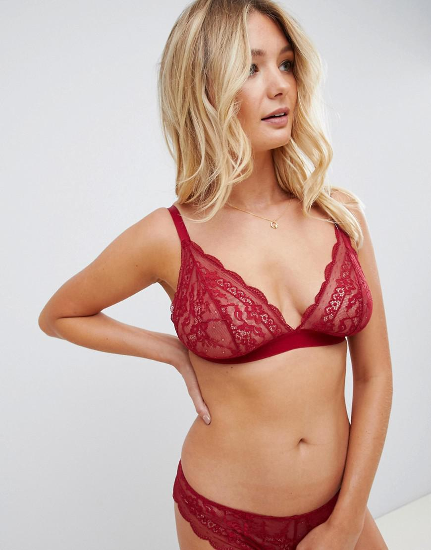 52aa3d702e ASOS Fuller Bust Roxy Lace Triangle Bra in Red - Lyst