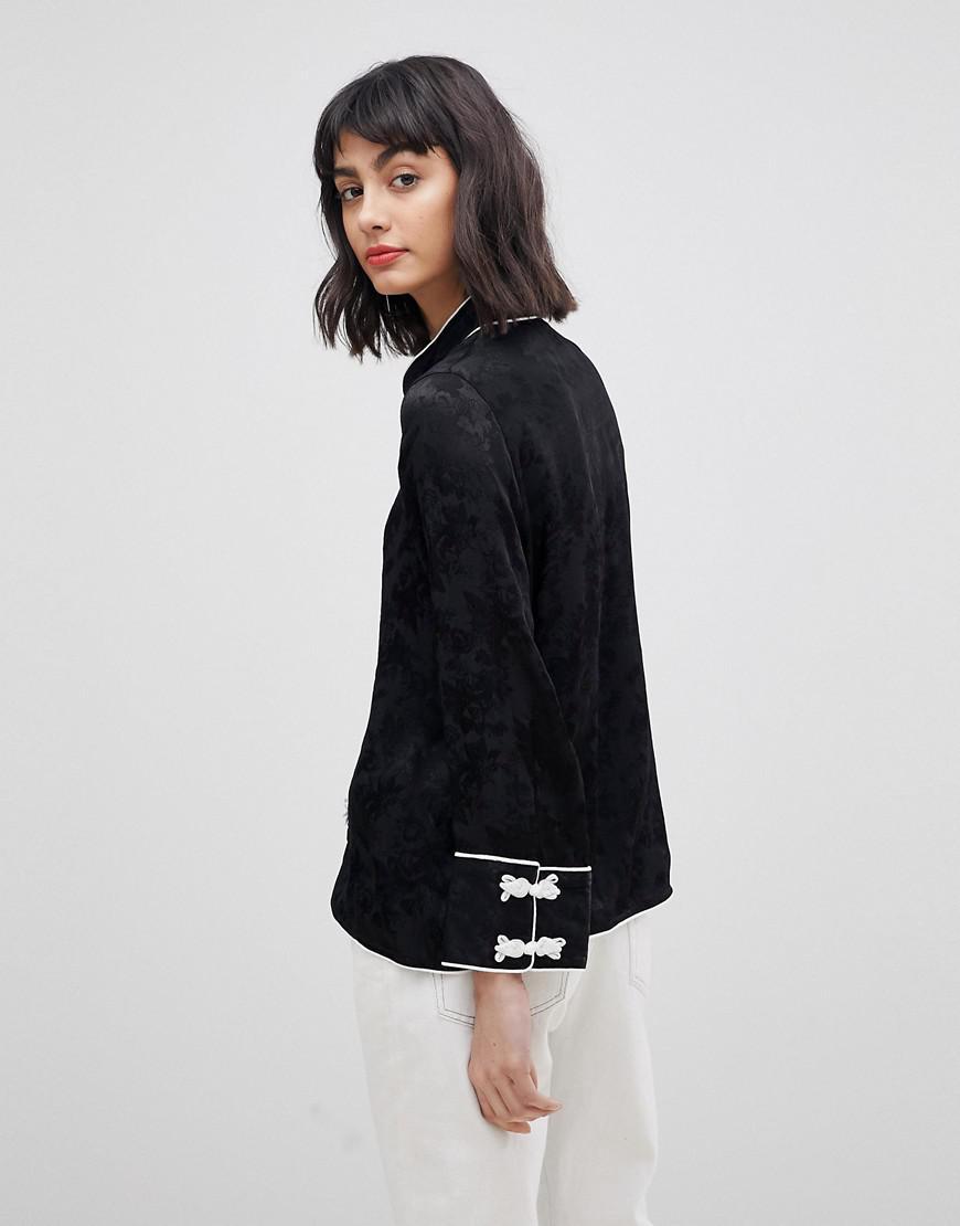 Moda Frogties Con De Negro Vero Jacquard Blusa xfnX6Ff