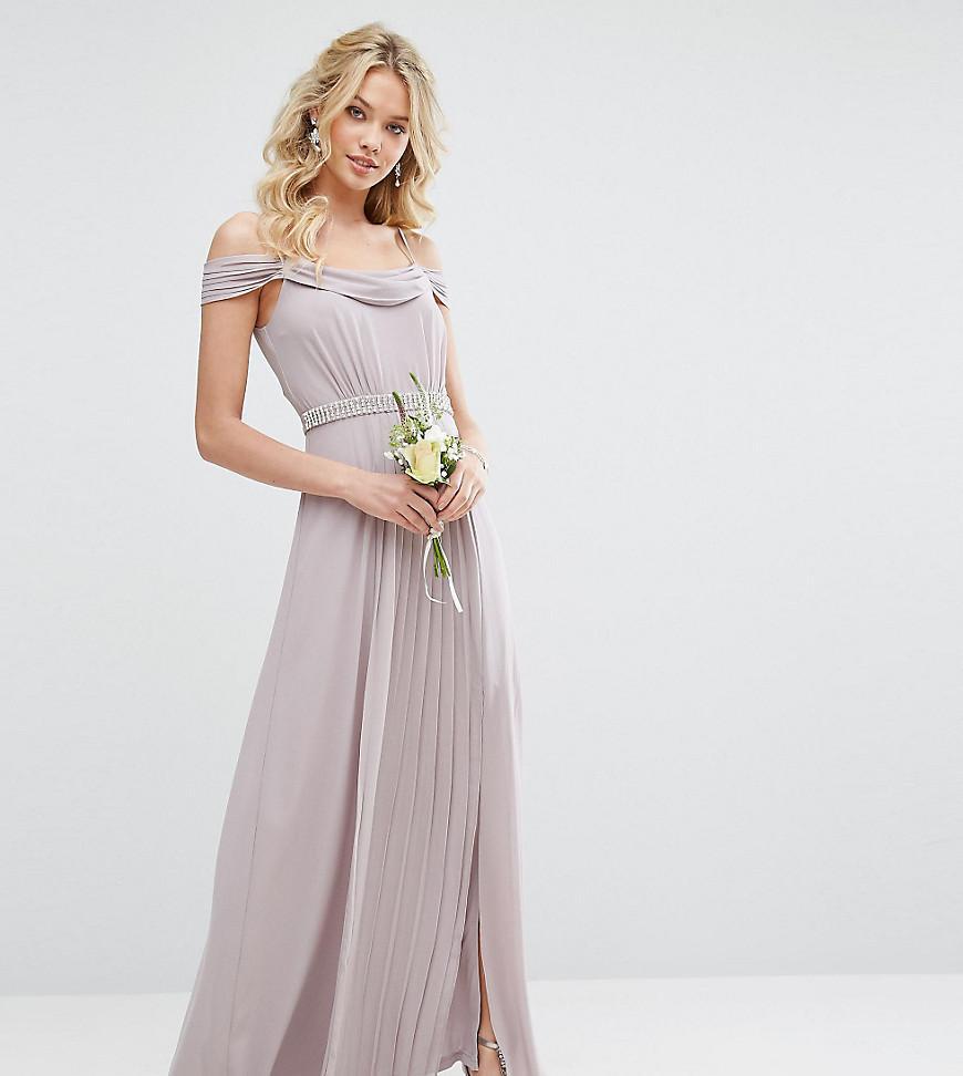 ea3dc5f79c4 TFNC London Wedding Cold Shoulder Embellished Maxi Dress in Gray - Lyst