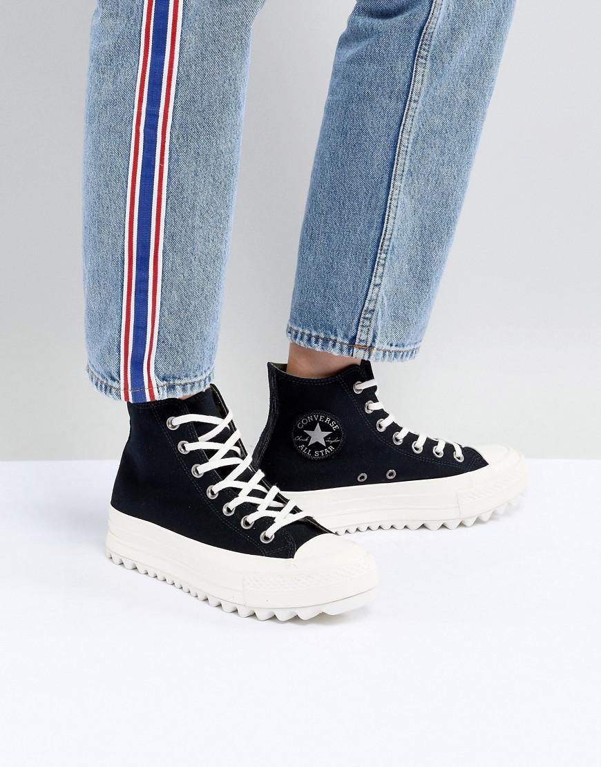 042963f9a51 Converse Chuck Taylor All Star Hi Lift Ripple Trainers In Black in ...