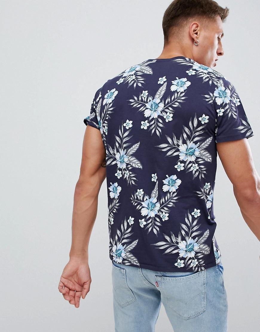 7541e897 Threadbare Tropical Print T-shirt in Blue for Men - Lyst