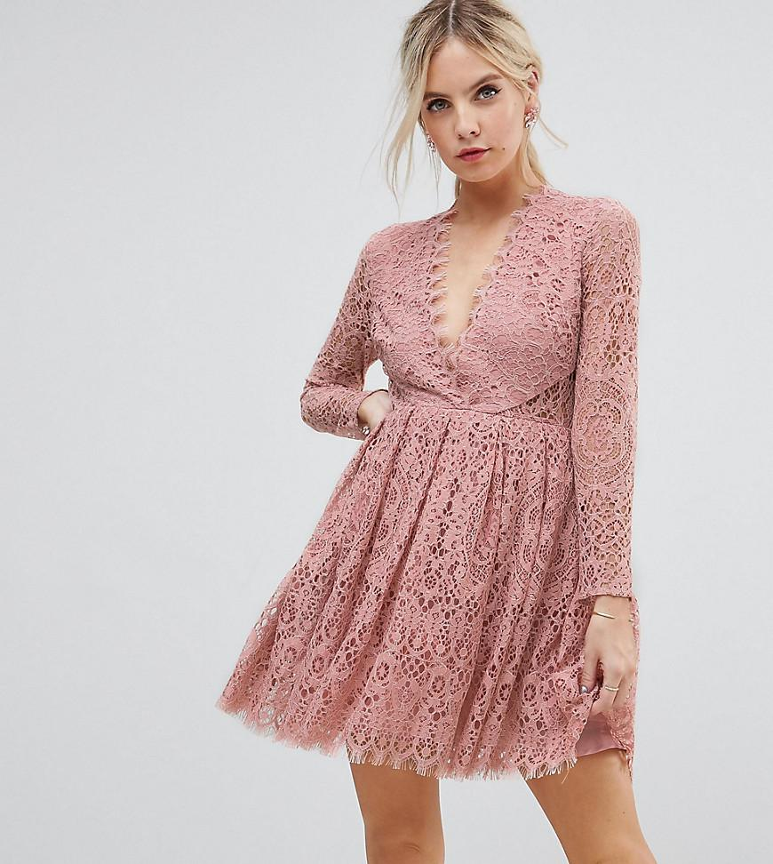 Lyst - Asos Long Sleeve Lace Mini Prom Dress in Pink