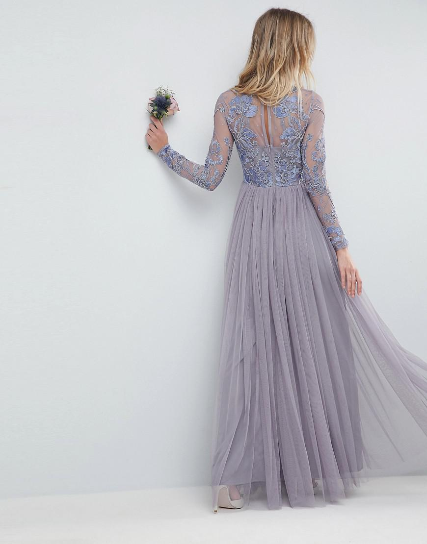 c2ca2052af3ac Lyst - ASOS Design Bridesmaid Embroidered Mesh Maxi Dress in Pink