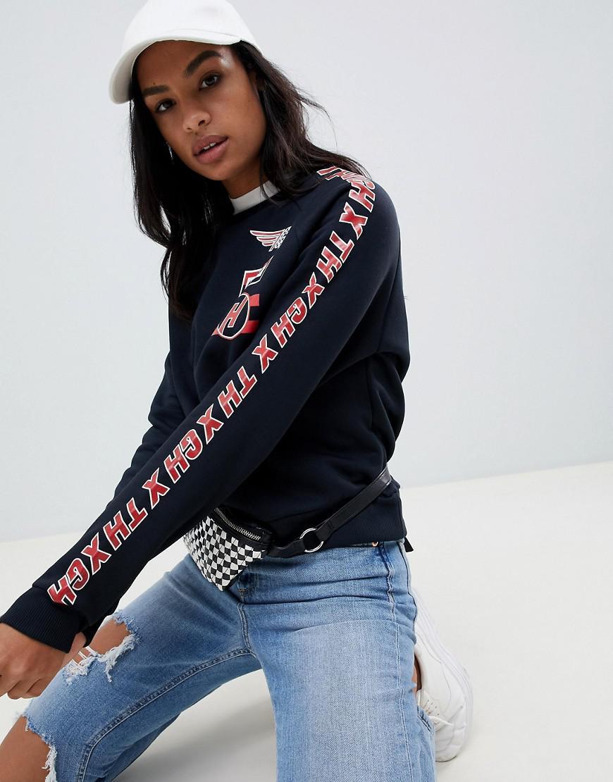ec9d61acce Tommy Hilfiger X Gigi Hadid Team Printed Sweatshirt in Black - Lyst