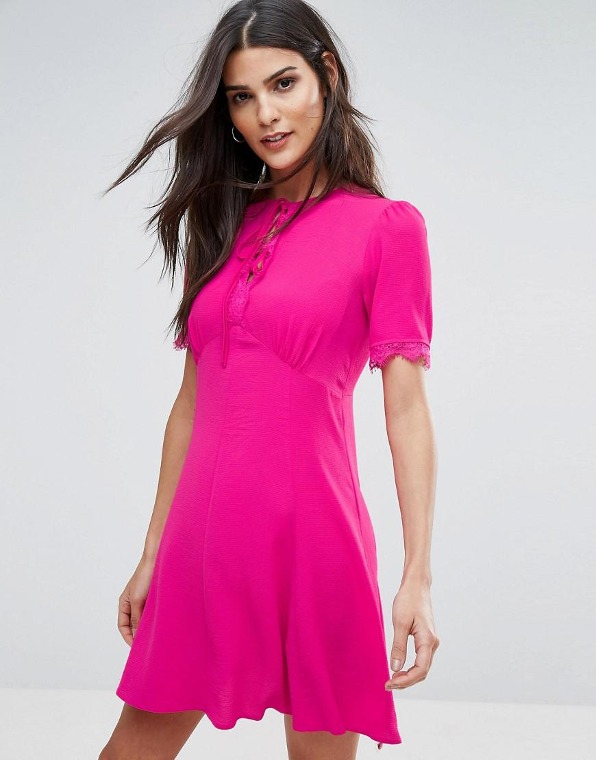 Cross Front Bardot Scuba Prom Dress - Pink Miss Selfridge 13S6okRus