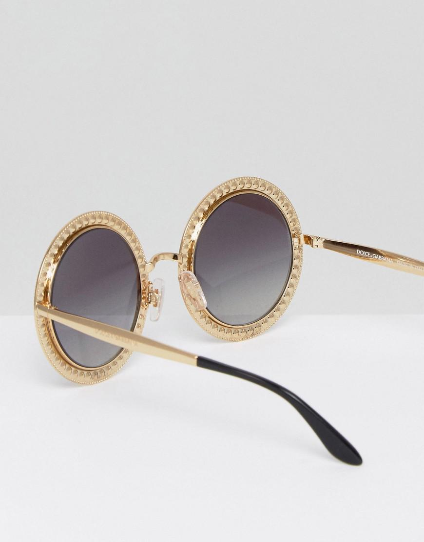 ef67f2c39df Lyst - Dolce   Gabbana Over Sized Round Sunglasses In Gold And Multi ...