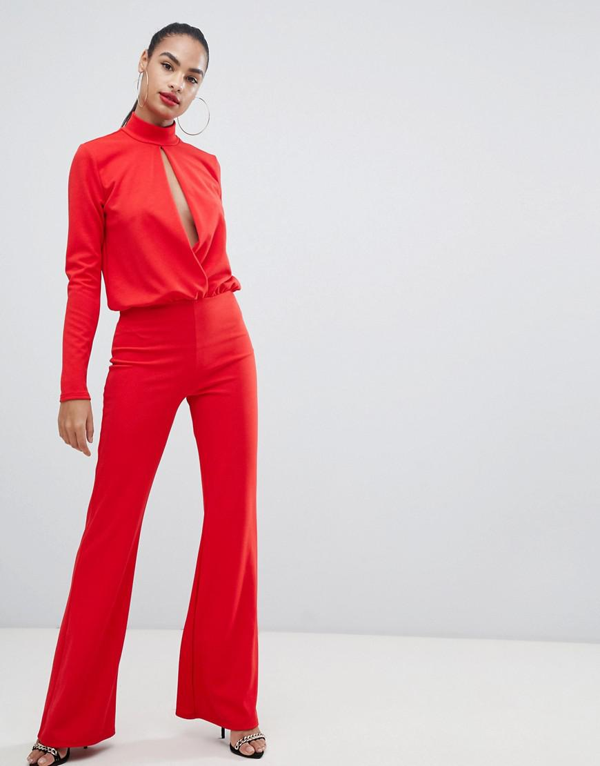 7b68dd62a535 PrettyLittleThing Keyhole Cut Out Jumpsuit In Red in Red - Lyst