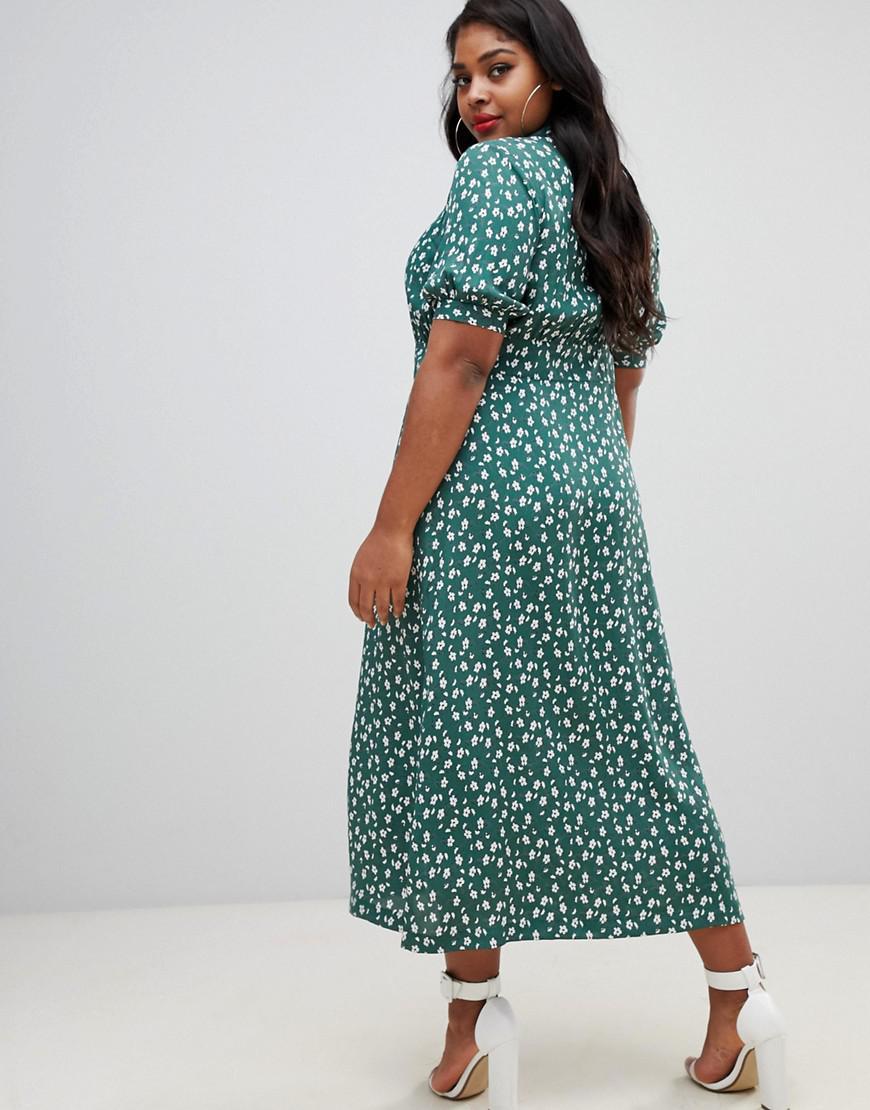 2fb863475 Lyst - ASOS Asos Design Curve Button Through Maxi Tea Dress In Ditsy Floral  Print
