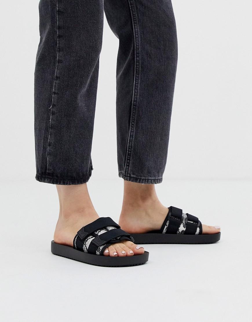 35a7e9e78a8 Bershka Mesh Detail Two Part Sandals In Black in Black - Lyst