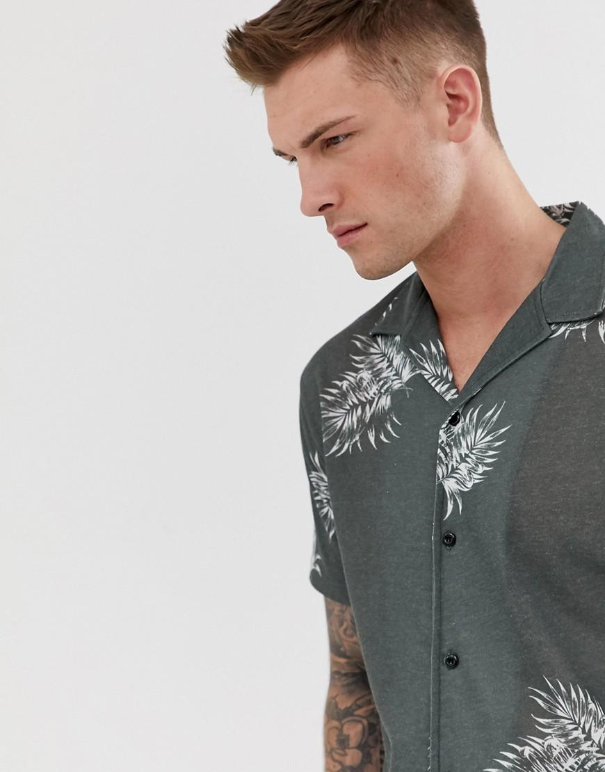 904b0870720 Jack   Jones. Men s Green Premium Short Sleeve Shirt In Floral Print With Revere  Collar