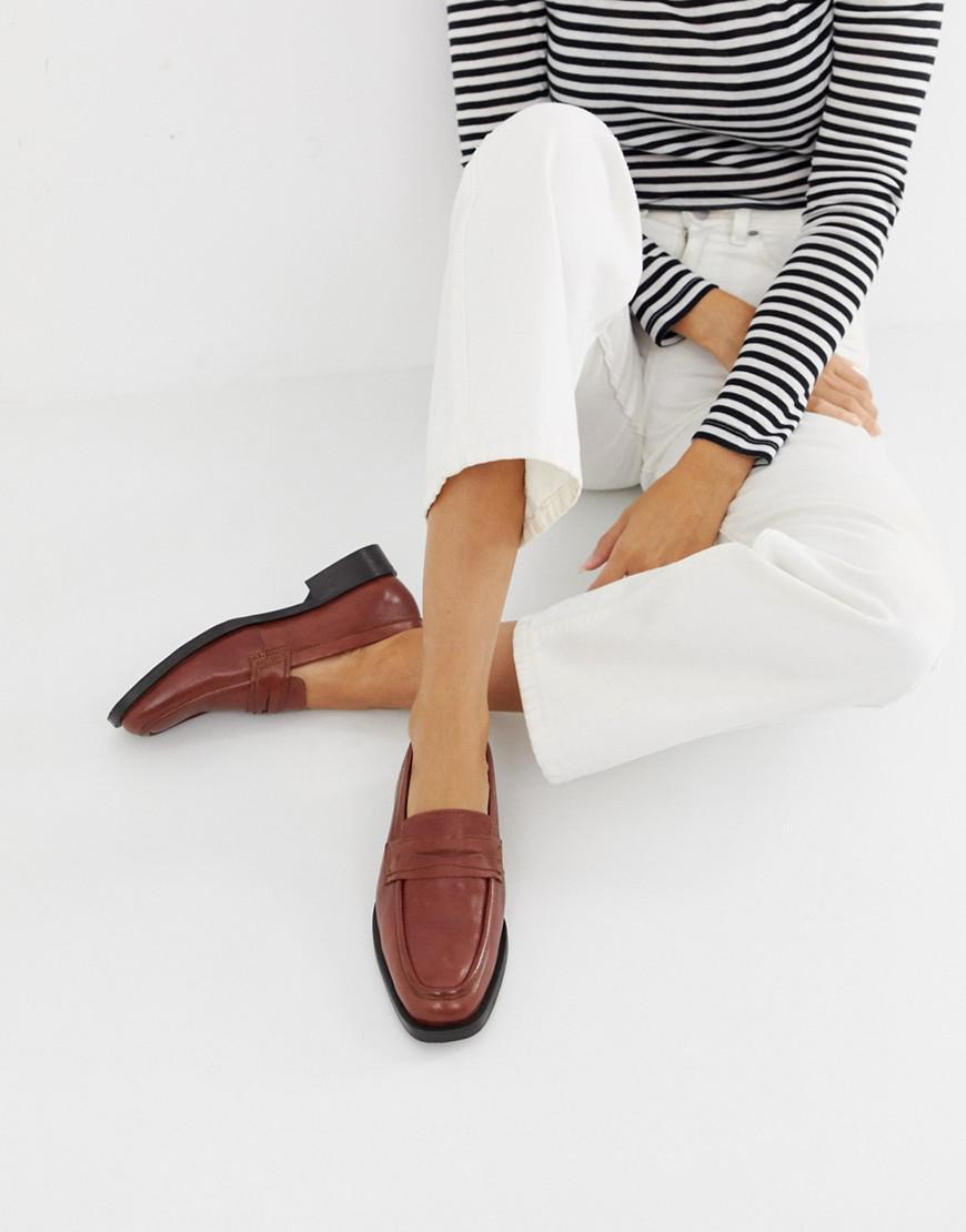 85d0918a2 Lyst - ASOS Madora Leather Loafers in Brown