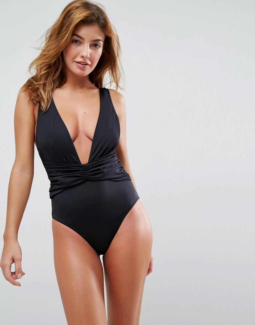 4b33bd0c90589 ASOS Recycled Plunge Ruched Front Swimsuit in Black - Lyst