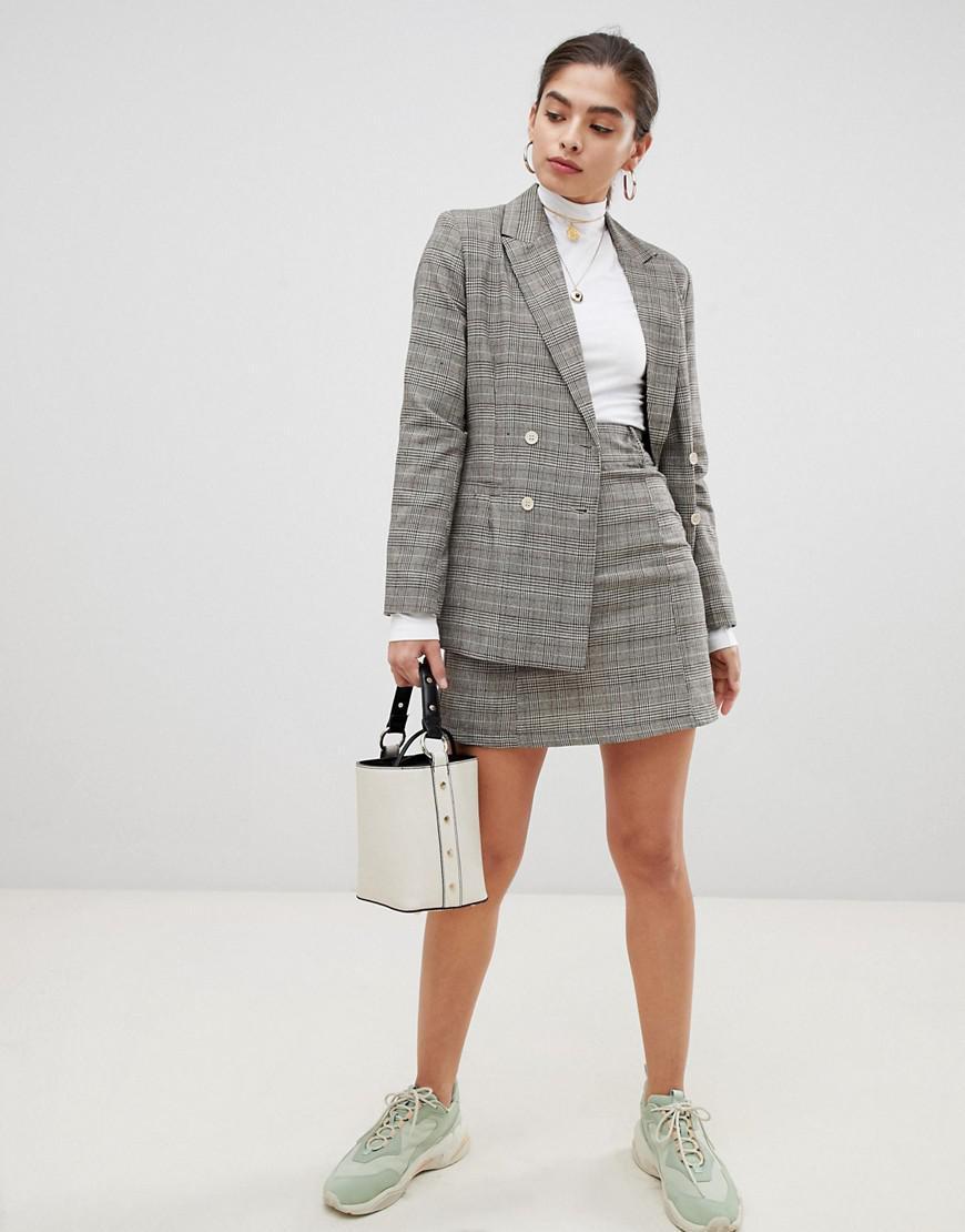 bfe9e178ca83 UNIQUE21 - Brown Checked High Waist Skirt - Lyst. View fullscreen
